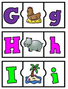 Spanish Alphabet Puzzles Beginning Sounds Learning Letters, Alphabet Activities, Teaching Activities, Activities For Kids, Kids Collage, Abc Centers, Initial Sounds, Spanish Alphabet, Letter Matching