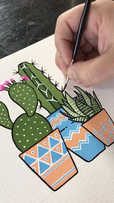 Gouache painting potted cacti by philip boelter boelter cacti gouache inspiration painting philip potted trying out new mediums can be so fun! i had a blast using gouache to paint delicate cherry blossoms against a bright blue sky Art Inspo, Kunst Inspo, Painting Inspiration, Cactus Painting, Cactus Art, Cactus Drawing, Cactus Doodle, Cactus Plants, Cactus Flower