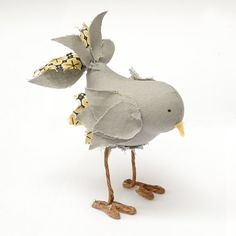 Fabric Bird Soft Sculpture by SquishyBee on Etsy
