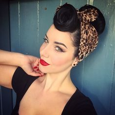 Miss Victory Violet- gorgeous vintage style rockabilly up do with a leopard print bandana. I just love this hair style!