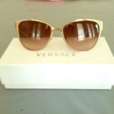 Metallic gold Versace sunglasses Final price !!! Stunning matte metallic gold Versace sunglasses worn twice ! In perfect condition comes with case and box, no trades Versace Accessories Sunglasses