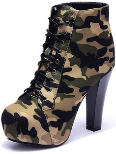 Odema Womens Military Ankle Boots Camouflage Sexy High Heel Pumps Lace up Platfo. - Odema Womens Military Ankle Boots Camouflage Sexy High Heel Pumps Lace up Platform Shoes >>> Wonder - High Heel Pumps, High Heel Boots, Pumps Heels, Combat Boots Heels, Ankle Boots, Heeled Boots, Fancy Shoes, Pretty Shoes, Camo Shoes