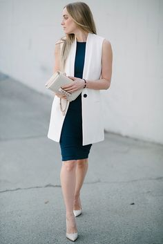 27 Work Outfits Every Working Woman Should Have * remajacantik Suit Fashion, Work Fashion, Hijab Fashion, Fashion Outfits, Blazer Outfits, Western Outfits, Vest Outfits For Women, Clothes For Women, Work Outfits