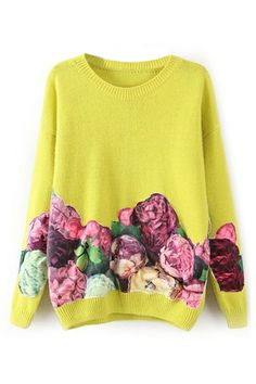 ROMWE Peony Appliqued Long Sleeves Yellow Jumper