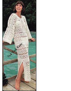 No.372 PDF Gehäkelte Muster Vintage 70er Jahre - Frauen die Gehäkelte Blume Motiv Kaftan / lange Kleid / Baden Anzug Cover-Up - Retro Crochet Pattern
