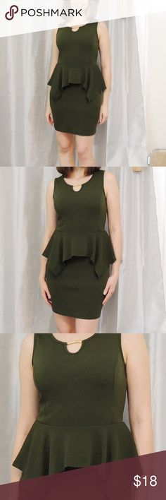 """Olive Green Peplum Keyhole Mini Dress Simple and pretty Peplum dress 👗 great for work on through happy hour. Lovely olive green color with a gold tone metal band at the keyhole neckline. Textured polyester material. Runs a little small. NWOT!! 17"""" armpit to armpit, 32.5"""" length from shoulder. Beautiful, classic style dress! No trades, add to a bundle and get 25% off your total purchase!! 😍 Dresses Mini"""
