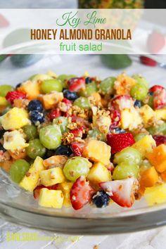 EASY Key Lime Honey Almond Granola Fruit Salad | http://www.carlsbadcravings.com/easy-key-lime-honey-almond-granola-fruit-salad/