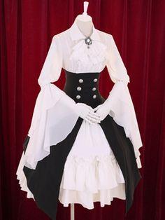 Vestido de algodón con gradas multicolor Lolita Vestido botones