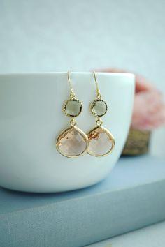Peach and Olive Earrings Champagne Peach Green Glass by Marolsha