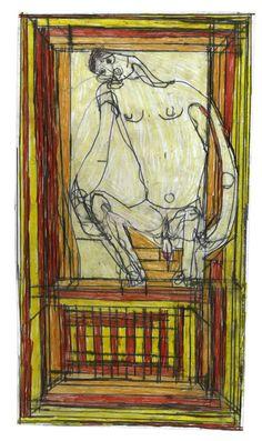 Hofer, Josef sans titre, 2006 mine de plomb et crayon de couleur sur papier 40 x 22 cm . Hofer, Josef