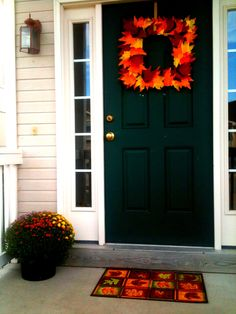 Fall wreath, front door, 2012 Fall decorations