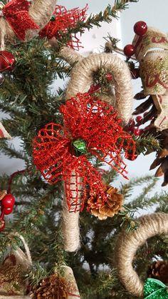 Burlap candy cane  ornaments