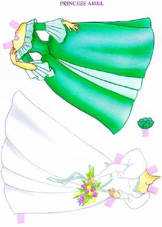 Coleção de 4 princesas da Disney para você recortar e colocar as lindas roupinhas: Branca de Neve, Cinderela, princesa Aurora e Ariel, a pe...