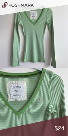 Abercrombie & Fitch green stripe l/s tee Abercrombie & Fitch green stripe long sleeve fitted v-neck tee - perfect condition never worn Abercrombie & Fitch Tops Tees - Long Sleeve