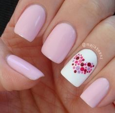 Shellac cake pop & white multi coloured dots in a heart