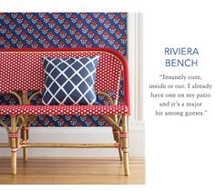 """""""Riviera Bench"""" -- From Serena and Lily, this is a line of indoor/outdoor furniture. I love the play of the particular patterns in this photo. See the full Riviera line here: http://www.serenaandlily.com/Furnishings/Furniture-Riviera-Collection"""