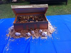 """treasure box for """"under the sea""""  birthday party. the sand made from cookies."""