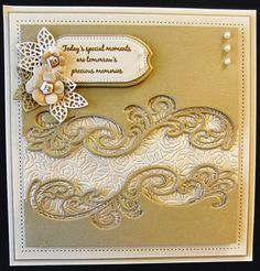 Hi bloggers! Today's giveaway card was one of my demos on my shows in February. I started with a piece of vintage gold card and used the Lyra die (which will be back in stock this week!) and cut it