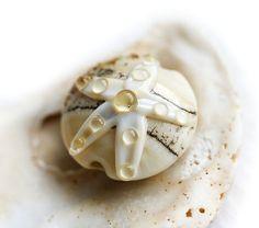 Handmade Lampwork bead Beige beach glass bead  with by MayaHoney, $8.00
