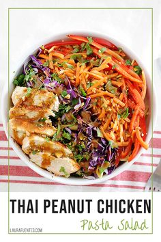 A refreshing and delicious Thai chicken salad with pasta, fresh veggies, and crushed peanuts all tossed in homemade Peanut Dressing!