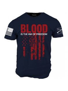 Star Spangled 1776 - Ink of Freedom T-Shirt Navy Blue- Grunt Style Military Men's Navy Blue Tee Shirt