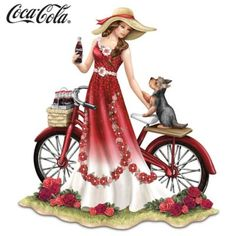 Limited-edition handcrafted, hand-painted COCA-COLA® lady figurine honors fur-ever friendship. Classic COCA-COLA contour bottles and red details.