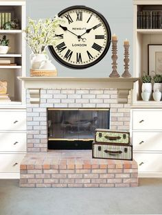 fireplace with clock on mantel - Google Search