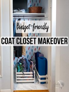 Easy budget-friendly and beautiful entryway coat closet makeover for a small coat closet. Simple organization ideas and inspiration. #anikasdiylife