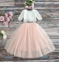 Girls Vintage Closet Lace Top & Blush Skirt Set Preorder 2 to 10 Years (Girls Easter Dresses). Girls Vintage Closet Lace Top & Blush Skirt Set *Sizes 2 currently in stock! Flower Girl Dresses Boho, Lace Flower Girls, Little Girl Dresses, Boho Dress, Girls Dresses, Flower Girl Tutu, Pageant Dresses, Tutu Rose, Flower Crowns
