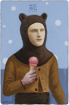 """The Bear"" (Mixed Media on Antique Photograph, 7 x 5 Inches) Art by Alex Gross Ice Cream Art, Portraits, High School Art, Oui Oui, Color Shapes, Gay Art, Motion Design, Figurative Art, Altered Art"