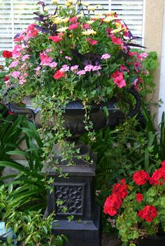 Urn filled with beautiful, and bright, flowers