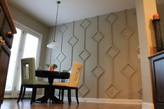Diamond Wall Treatment how-to. (Seems like it could be an easier project if you… Diamond Wall Treatment how-to. (Seems like it could be an easier project if you found ready-made square frames) Diy Wand, Do It Yourself Decoration, Wall Design, House Design, Diamond Wall, Dining Room Walls, Dining Nook, Wood Accents, Wall Patterns