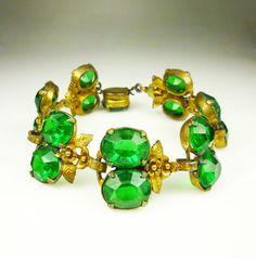 Art Deco Bracelet Emerald Green Glass Gilt Floral by zephyrvintage, $62.00