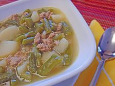 German Green Bean Soup -- the easiest to make using frozen beans and any meat you want. http://www.quick-german-recipes.com/green-bean-soup-recipe.html