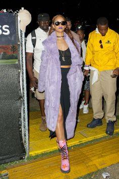 Rihanna purple coat