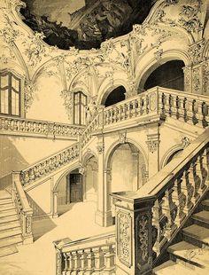 Staircase in Kloster Oberzell near Werzburg, Germany (1891)