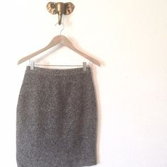 HP | Gray Sweater Skirt Soft and warm pencil skirt. 54% silk/31% nylon/13% angora/2% other fiber. Excellent condition. Size S Dress Barn Skirts Pencil