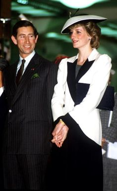 The Prince and Princess of Wales visiting a department store in Tokyo, Japan, May 1986. Princess Diana is wearing a suit by Catherine Walker. (Photo by Princess Diana Memorial Trust/Getty Images)