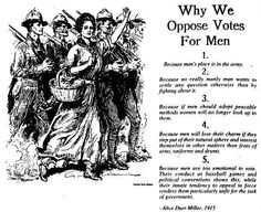 Why we oppose votes for men.