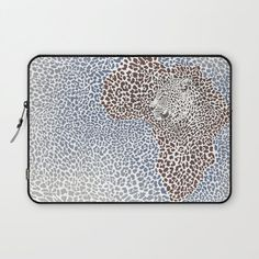 Pattern seampless leopard fur and face with map of Africa Laptop Sleeve by vladimirceresnak Africa Map, Laptop Sleeves, Just For You, Exterior, Comfy, Zipper, Animal, Printed, Face