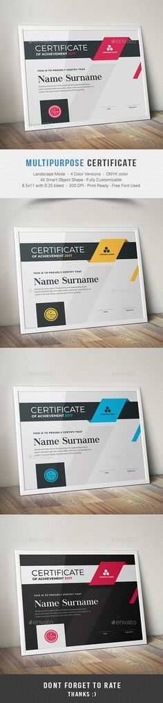 Buy Certificate by on GraphicRiver. This Multipurpose Certificates is Customizable and ready to print. A help file is included with the main file. Certificate Of Appreciation, Certificate Of Achievement, Award Certificates, Certificate Layout, Certificate Design Template, Stationery Printing, Stationery Design, Colegio Ideas, Shop Signage