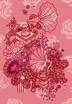 Gramophones: Illustration by Beverley Gene Coraldean Design Inspiration, Random, Illustration, Cards, Free, Illustrations, Maps, Playing Cards