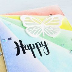 One more pic of the beautiful new butterfly by on a rainbow of colors. ☺ Be happy this weekend, lovelies! Pretty Pink Posh, Distress Ink, Clear Stamps, I Card, Hand Lettering, Crafting, Sequins, Butterfly, Rainbow