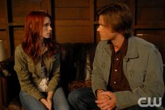 """I Know What You Did Last Summer""  Pictured (L-R) Julie McNiven as Anna and  Jared Padalecki as Sam  in SUPERNATURAL on The CW. Photo: Sergei Bachlakov/The CW©2008 The CW Network, LLC. All Rights Reserved.pn"