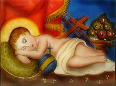 BAMBINELLO DISTESO (f) Pittura su Vetri cm 40X30