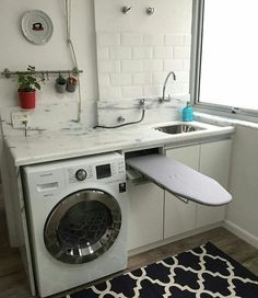 Laundry Decor, Small Laundry Rooms, Laundry Room Design, Home Room Design, Laundry In Bathroom, Interior Design Living Room, Space Saving Furniture, Home Decor Furniture, Rustic Basement Bar