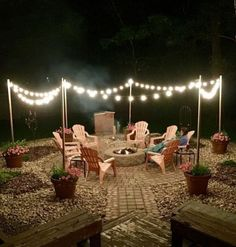 Awesome DIY Fire Pit Plans Ideas With Lighting in Frontyard Fantastische DIY-Feuerstelle plant Ideen mit Beleuchtung in Frontyard Backyard Patio Designs, Backyard Projects, Backyard Landscaping, Backyard Gazebo, Fire Pit Landscaping Ideas, Back Yard Patio Ideas, Simple Backyard Ideas, Cheap Patio Ideas, Wedding Backyard