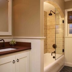 Bathroom Tub Shower Combo Design...Love the arch at the top