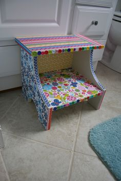 Mod Podge Step Stool--I need to make a fun boy one soon