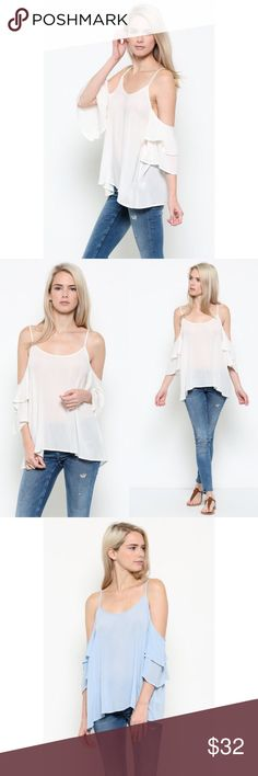 NEW🌟 white cold shoulder double ruffle shirt top Don't you just love this crisp white cold shoulder top? 🌿 I do!  • Polyester blend   • fits true to size   🛒 Save 10% on bundles 3+ items!   LIGHT BLUE also available in separate listing. WILA Tops Blouses
